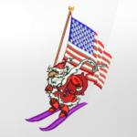 Patriotic Santa Embroidery Design