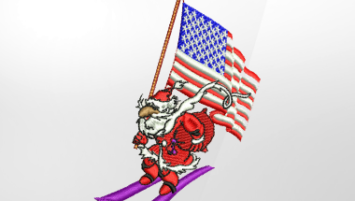 Patriotic Santa Embroidery Design