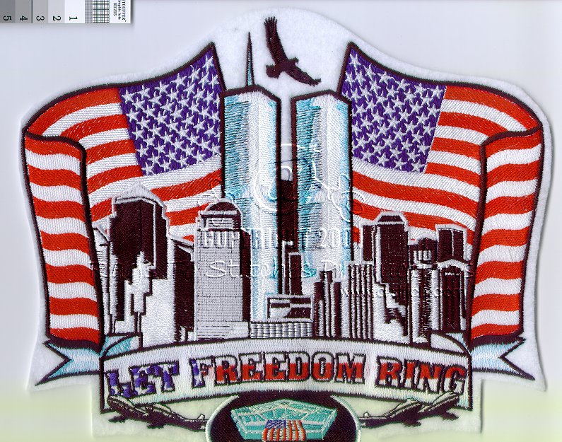 Let Freedom Ring 9/11 Tribute Embroidery Design