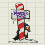 Holiday Penguin Embroidery Design